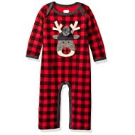 Mud Pie Baby Boys' Christmas Buffalo Check Long Sleeve One Piece Playwear