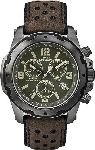Timex TW4B01600 - Reloj de Cuarzo con cronógrafo para Hombre (Mecanismo de Cuarzo, Esfera Verde y Correa de Piel Color marrón): Amazon.es: Relojes