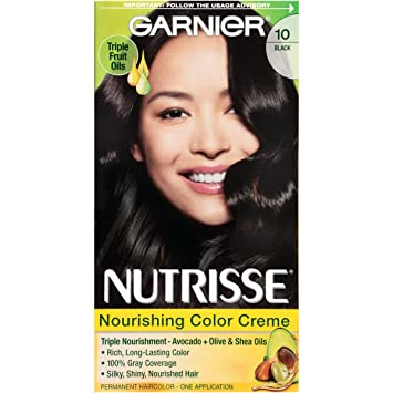 Amazon.com: Garnier Nutrisse Nourishing Hair Color Creme, 10 Black ...