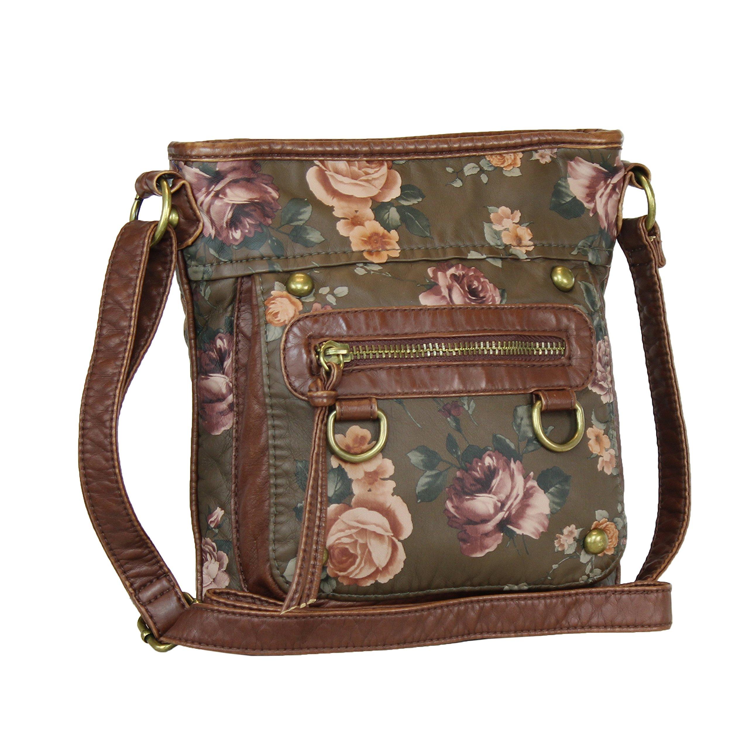 Vintage Floral Roses Crossbody Purse- Olive Letter Carrier with Front Pocket