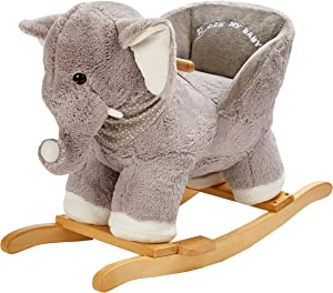 ROCK MY BABY Baby Rocking Horse Elephant with Chair,Plush Stuffed Rocking Animals,Wooden Rocking Toy Horse/Baby Rocker/Animal Ride on,Home Decor,for Girls and Boys,(Gray Elephant)