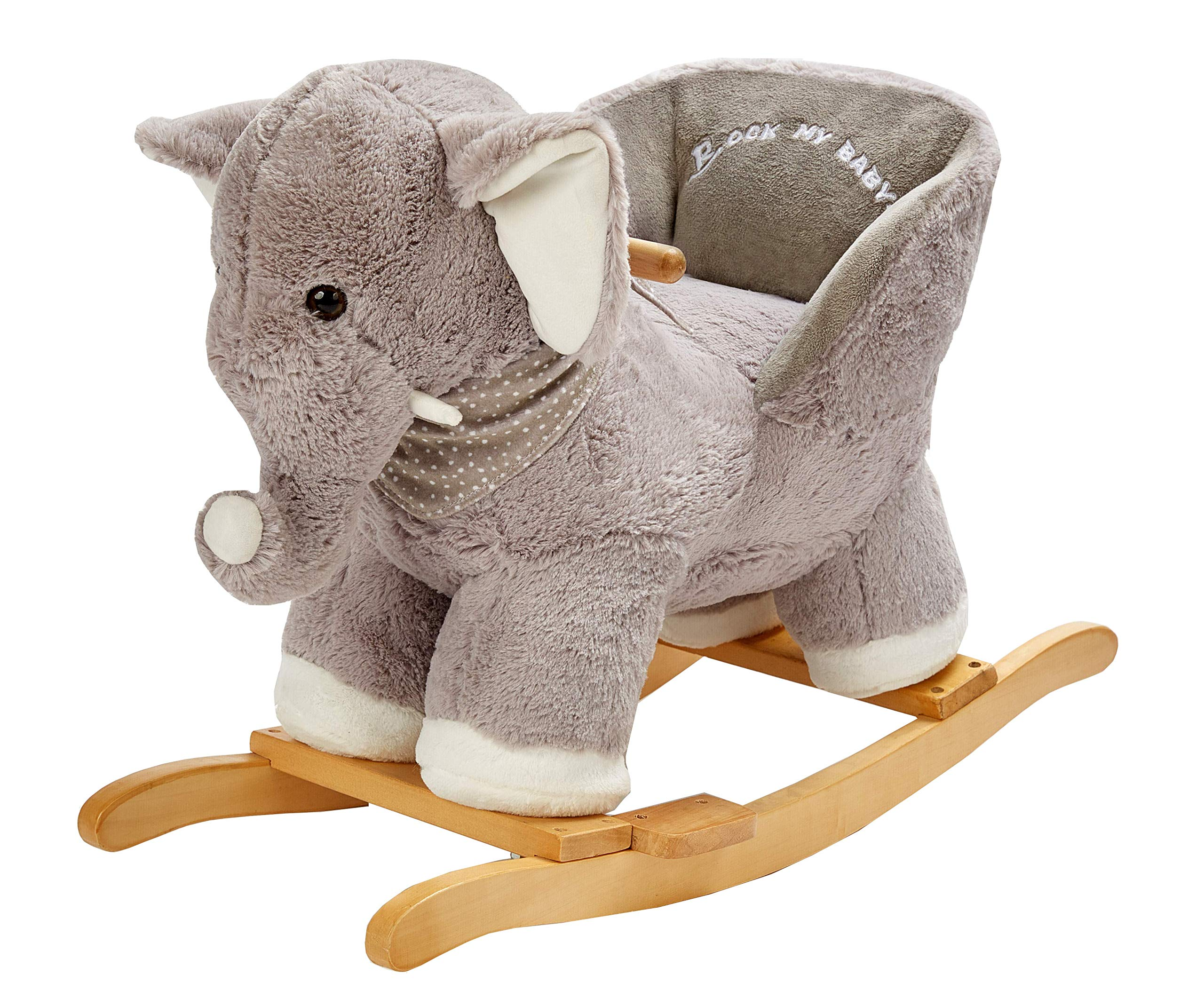 ROCK MY BABY Gray Elephant with Chair,Plush Stuffed Rocking Animals,Wooden Rocking Toy Horse/Baby Rocker/Animal Ride on,Home Decor,for Girls and Boys,(Gray Elephant)
