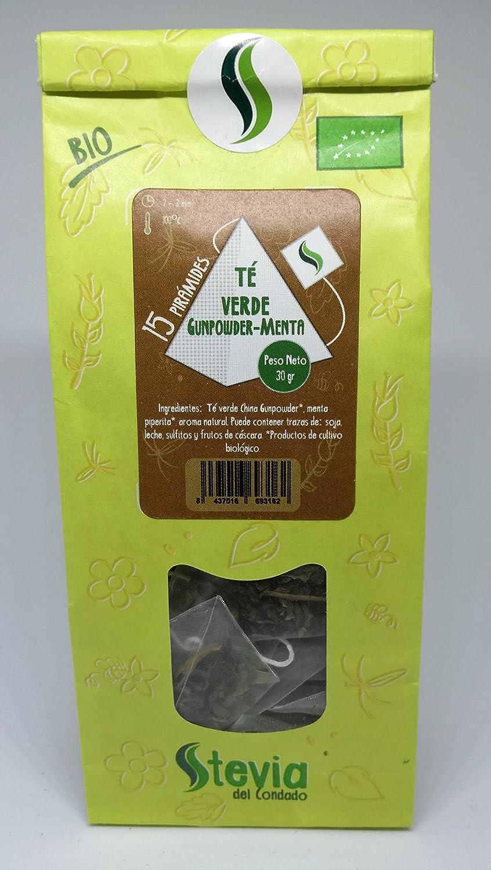 Té Verde Gunpowder Menta BIO 15 Pirámides | Stevia del Condado: Amazon.es: Alimentación y bebidas