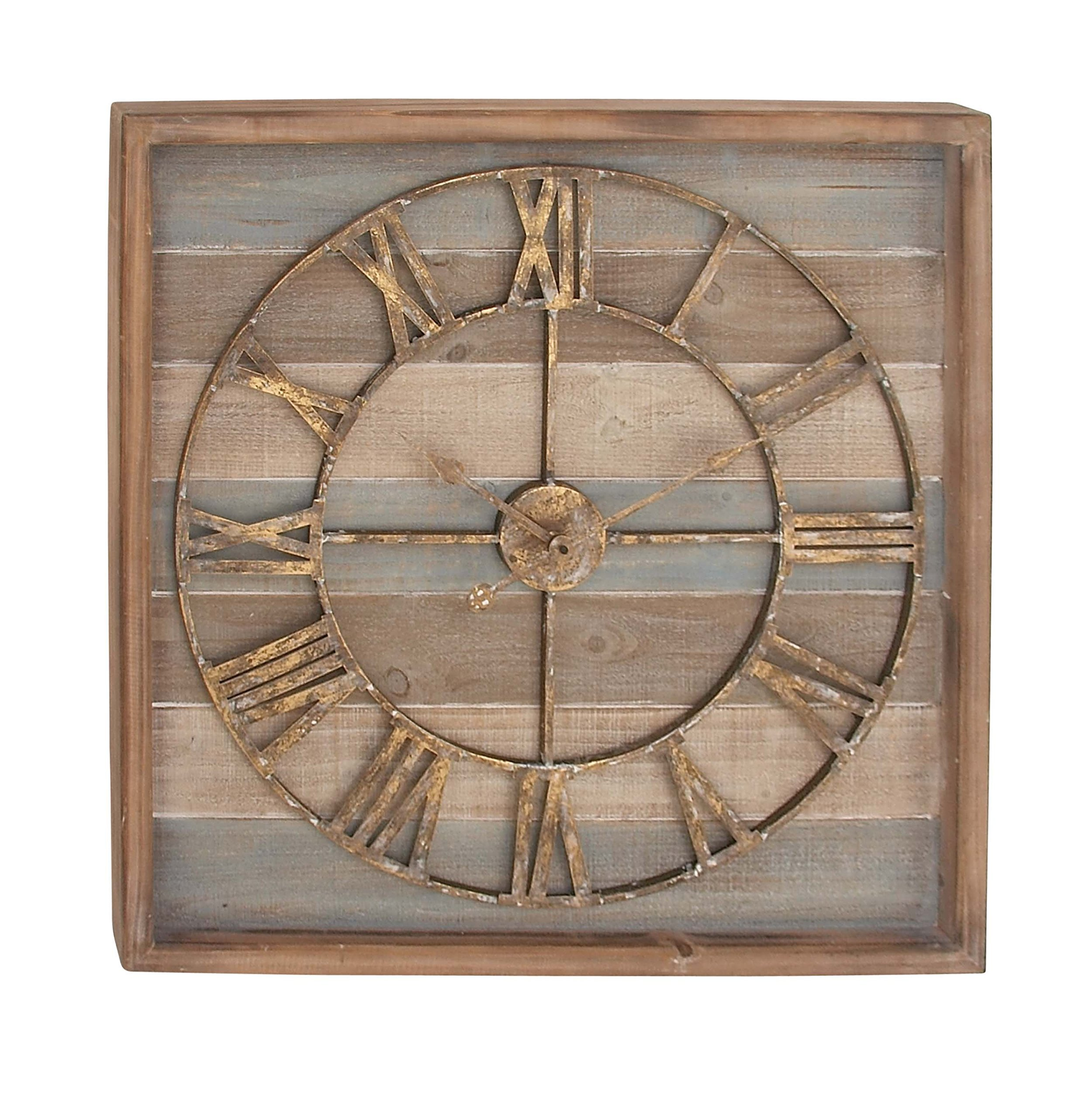 Deco 79 44444 Square Iron and Wood Wall Clock, 30'' x 30'', Brown/White/Cyan