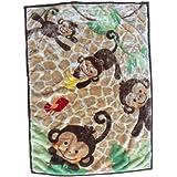 "Danica Super Cozy Plush Baby Blanket, Cute Animal Pattern, 43"" X 30"" Cozy, Comfortable & Warm (Playing Monkey)"