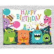 Ambesonne Birthday Decorations for Kids Tapestry, Little Baby Monsters Party Cones Confetti Balloons Image, Wall Hanging for Bedroom Living Room Dorm, 60 W X 40 L Inches, Multicolor