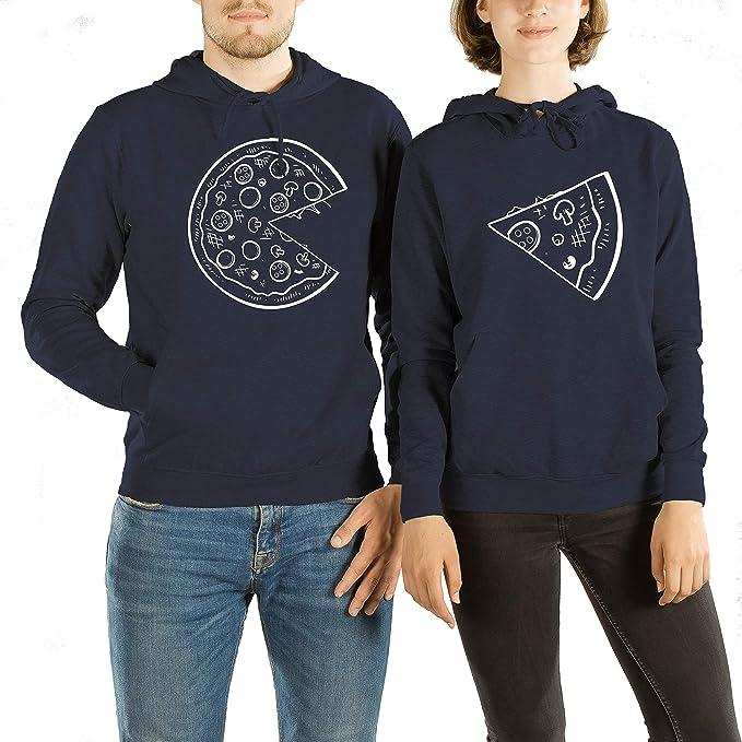 VivaMake Set de 2 Sudaderas para Parejas Hombre y Mujer con Diseño Pizza Love: Amazon.es: Ropa y accesorios