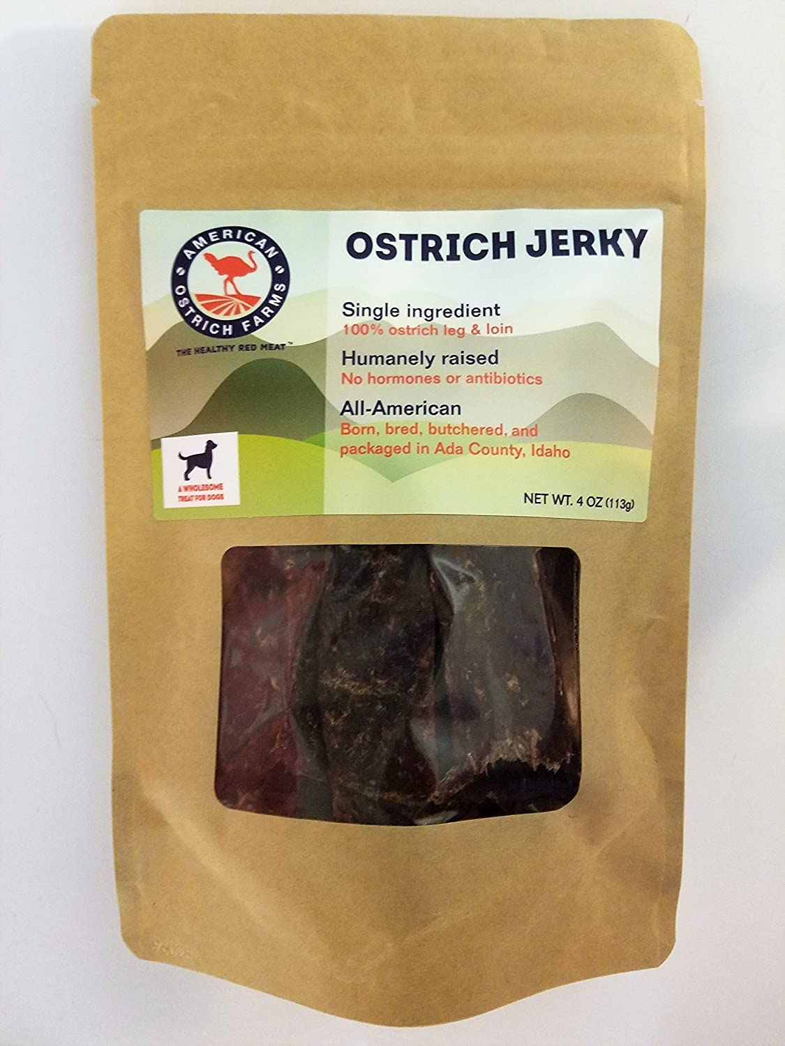 Ostrich Jerky for Pets: Single Ingredient, 100% Natural, All-American, tastes just like beef, but far healthier!