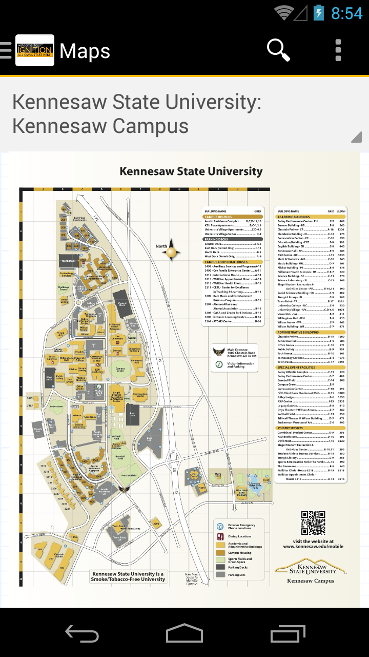 Amazon.com: Kennesaw State Guides: Appstore for Android on university of louisiana at monroe map, florida polytechnic university map, georgia college and state university map, delaware university map, new mexico university map, columbia state university map, university of maryland university college map, west ga university map, kentucky university map, texas a&m international university map, university of arkansas at little rock map, washington university in st. louis map, argosy university map, kansas wesleyan university map, university of texas at dallas map, ksu housing map, metropolitan state university map, virginia university map, mountain state university campus map, huntsville state university map,