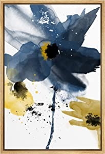 SIGNWIN Framed Canvas Wall Art Blue Flower Canvas Prints Home Artwork Decoration for Living Room,Bedroom - 16x24 inches