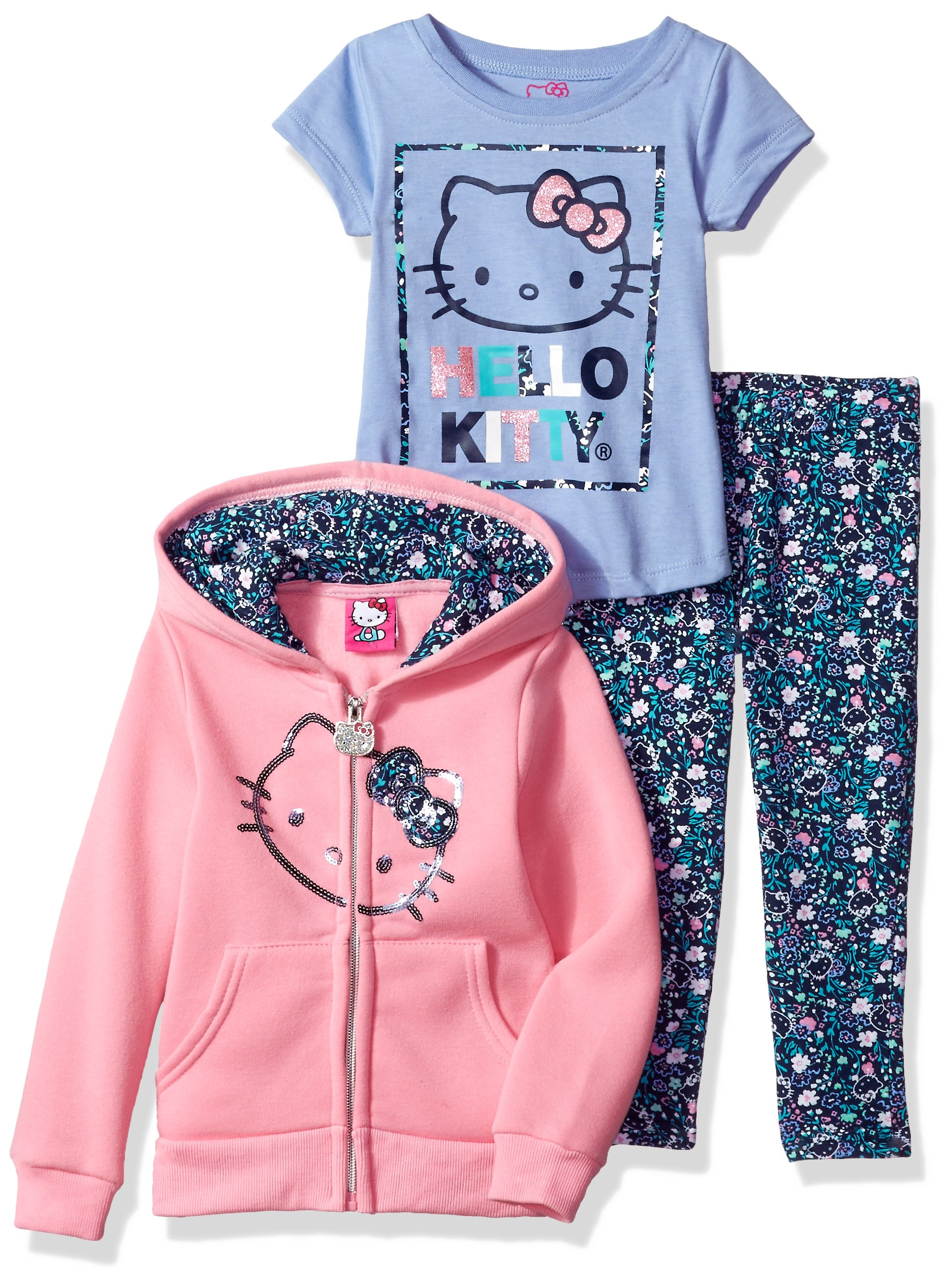 Hello Kitty Little Girls' 3 Piece Hooded Legging Set, Pink/Blue, 6
