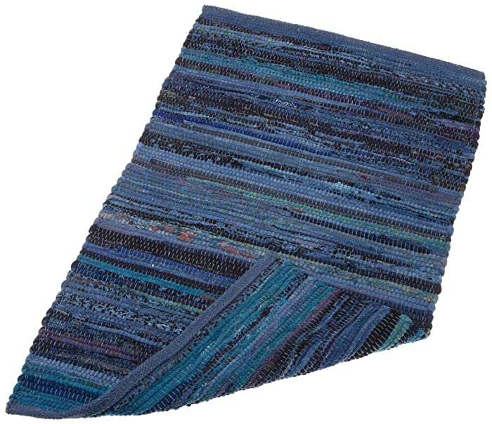 DII Contemporary Reversible Floor Rug For Bathroom, Living Room, Kitchen, or Laundry Room (20x31.5) - Nautical Blue