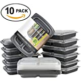 Matana Contenitori per pasti preparati, Tupperware a 3 scomparti, impilabili, 100% a prova di fuoriuscite, con coperchi sicuri – adatti per freezer, lavastoviglie e microonde, plastica, 10 pezzi