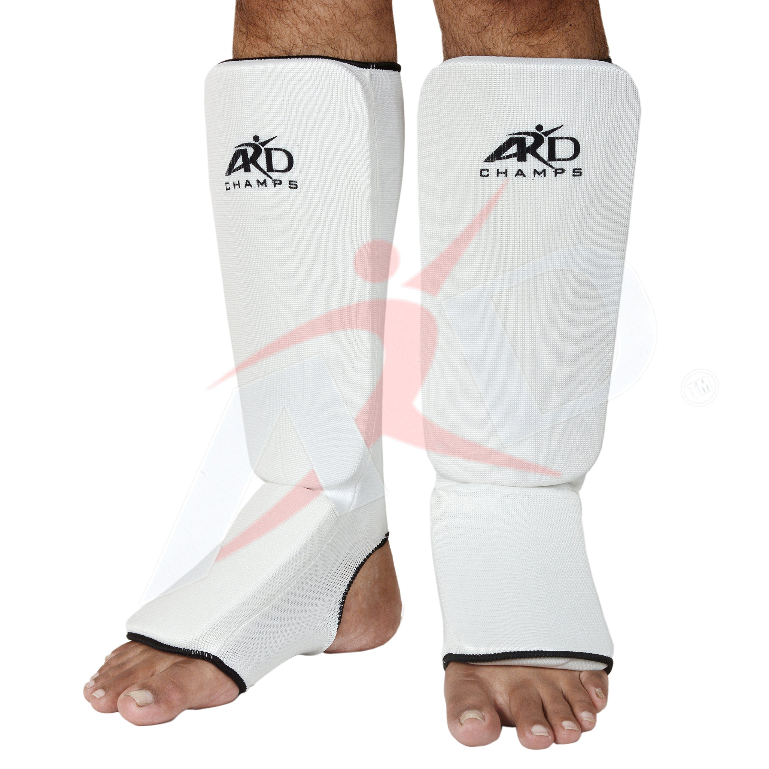 ARD Shin Instep Protectors, Guards Pads Boxing, MMA, Muay Thai (White, Small) by ARD-Champs