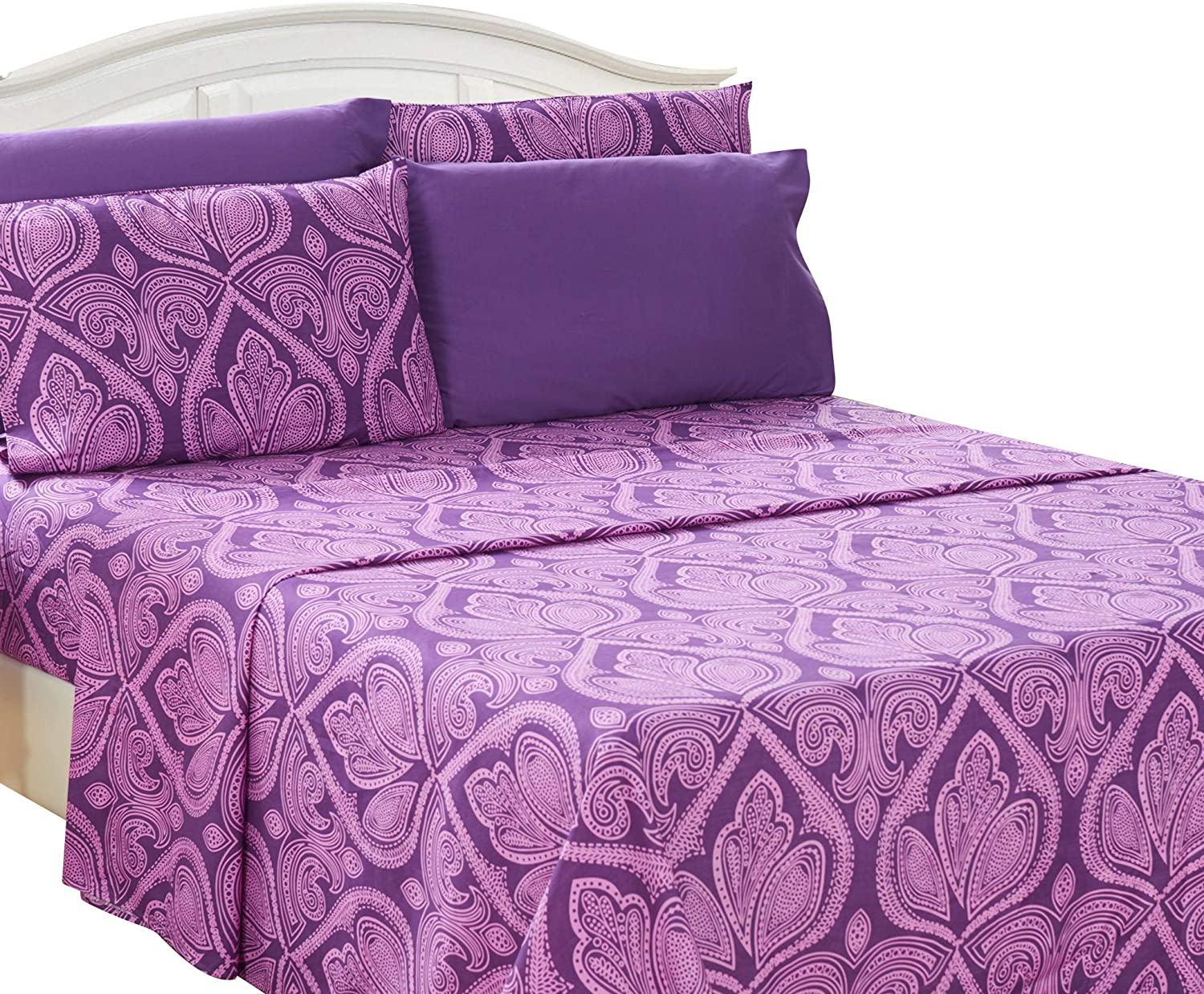 Lux Decor Collection Bed Sheet Set - Brushed Microfiber 1800 Bedding - Wrinkle, Stain and Fade Resistant - Hypoallergenic - 6 Piece (Queen, Paisley Purple)
