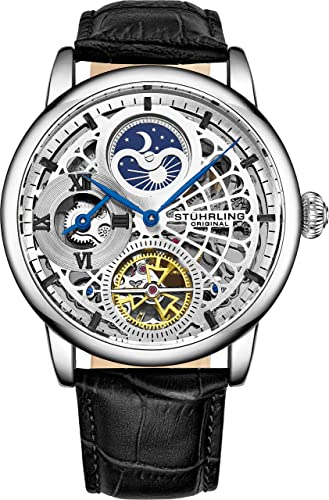 Amazon.com: Stührling Original Mens Skeleton Watch Silver Analog Watch Dial  Mens Automatic Watch - Dual Time, AM/PM Sun Moon, Genuine Leather Band,  3926 Mens Watches Collection: Watches
