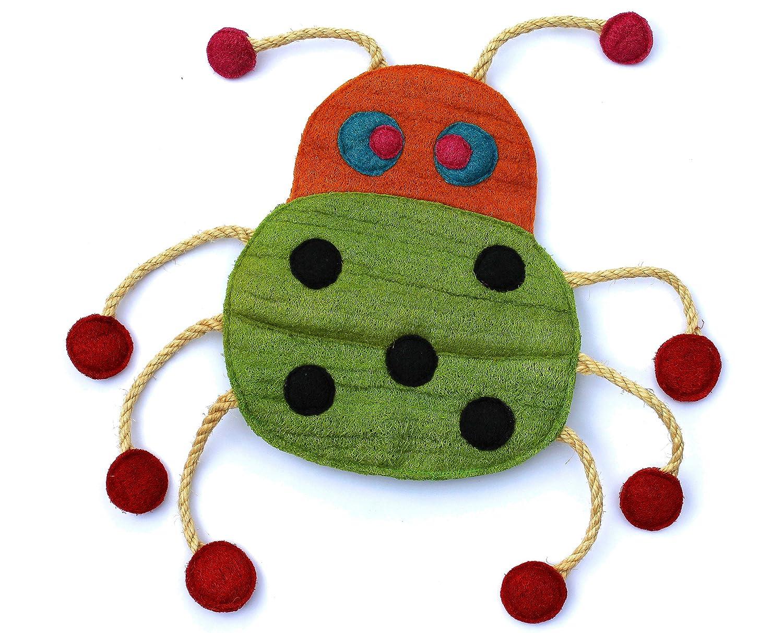Eco-Loofah Original Play and Scratch Station Pet Toy, Ladybug Design(EPetBigA-LB)