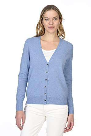 400be11ef7 State Cashmere Women s 100% Pure Cashmere Button Front Long Sleeve V ...