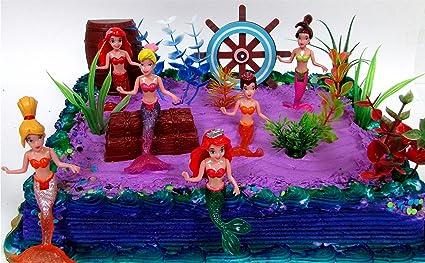 Amazon.com: 16 pieza bajo el mar sirena Themed torta de ...