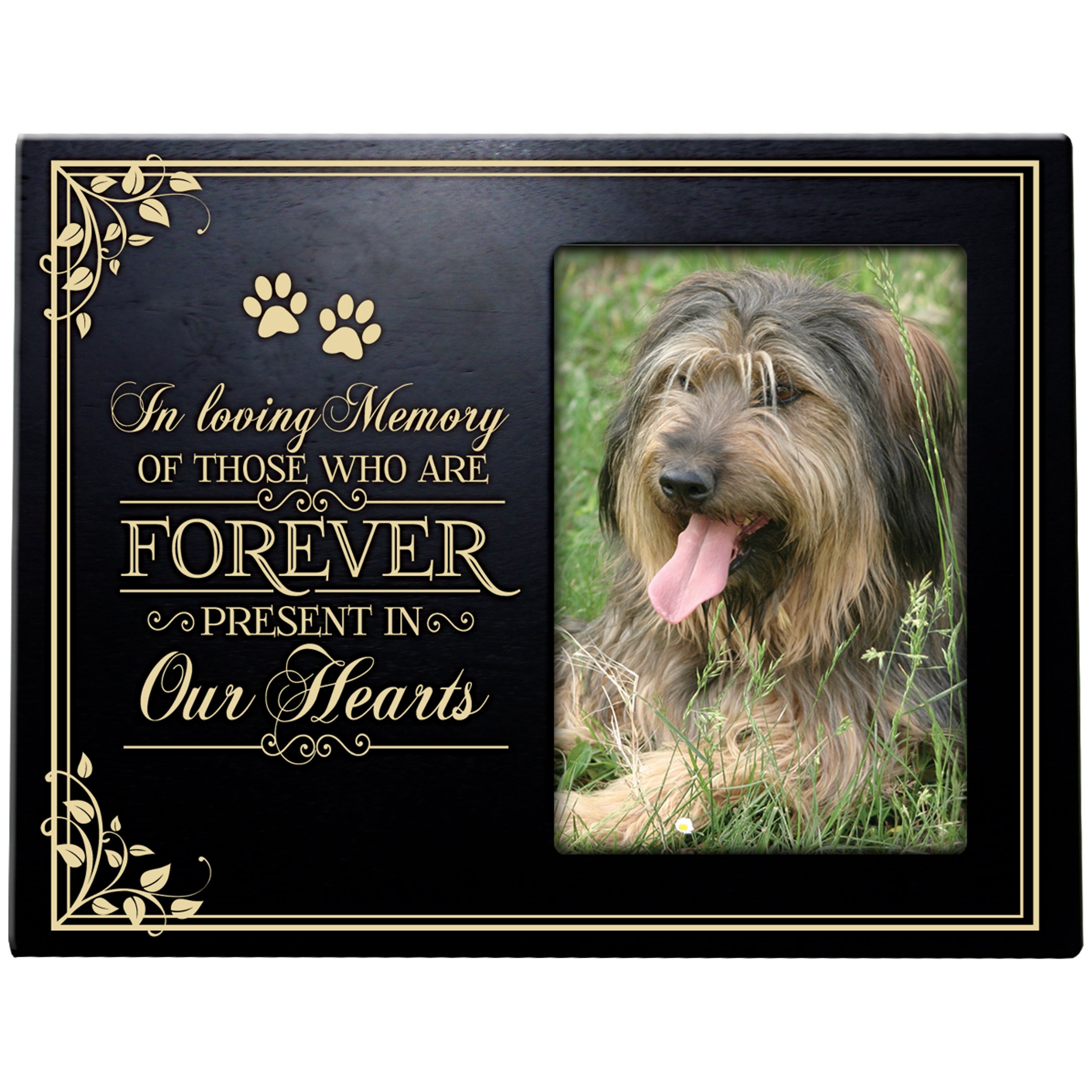 Pet Memorial Sympathy Bereavement Photo Frame In Loving Memory of Those who Are Forever Present in Our Hearts Holds 4x6 Photo (Black)