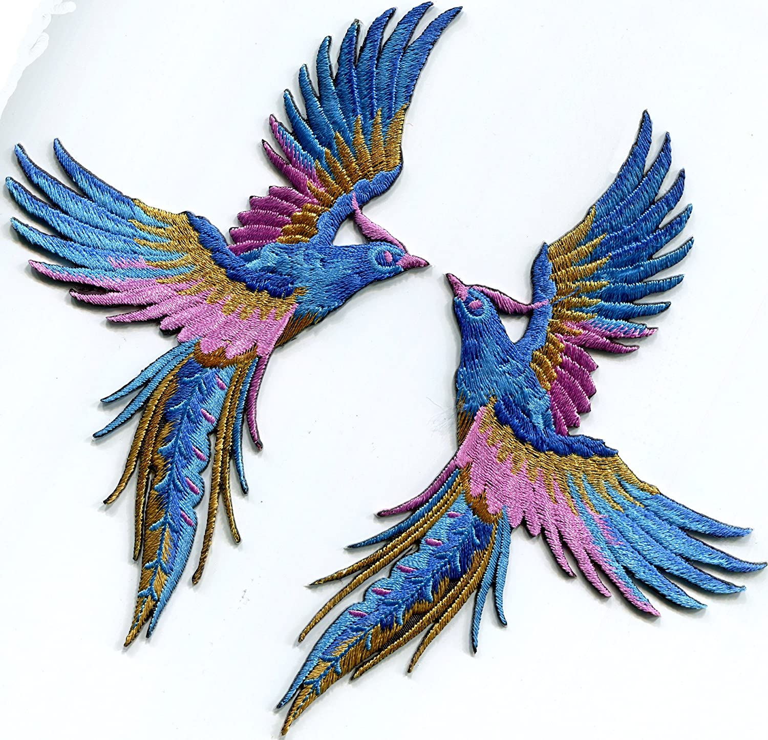 Phoenix phenix birds azure blue pink gold embroidered appliques iron-on patches pair S-1338