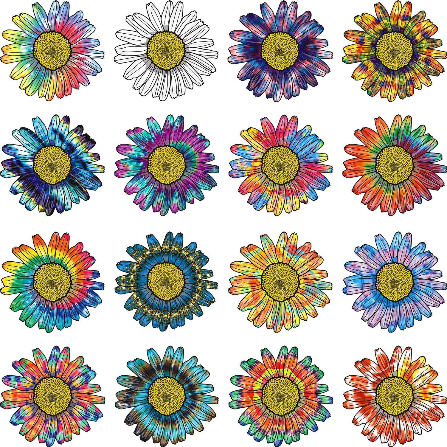 16 Pieces Rainbow Tie Dye Stickers Daisy Flower Sticker Waterproof Car Stickers Decals for Laptops, Skateboards, Luggage, Cars, Bicycles, Books