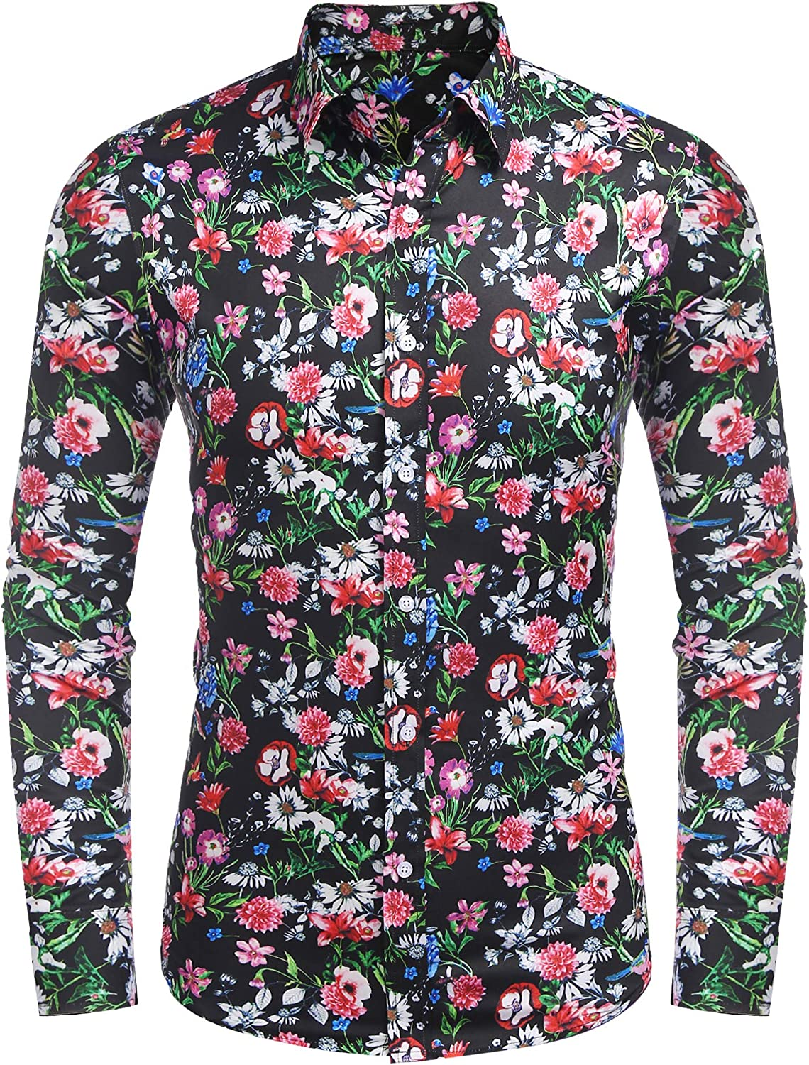 Top Slim Fit Blouse Floral Stylish Shirt Luxury Dress Shirts Casual Long Sleeve