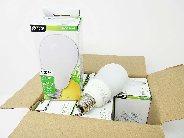 6Pack TCP 15W Large Globe Bulb Bayonet Cap Lamp ES E27 Warm White Light Bulb Lamps Energy Saver Equivalent to 70 Watt