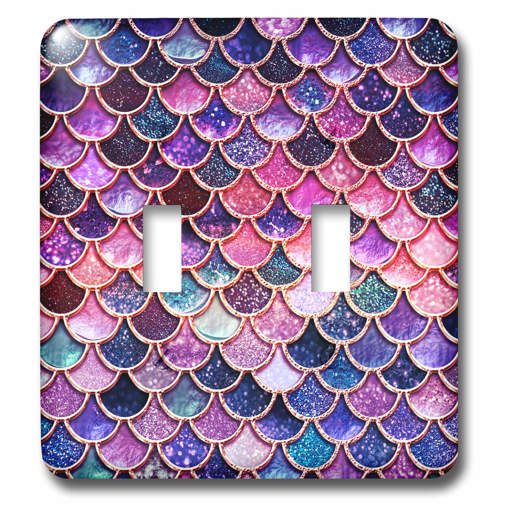 3dRose LSP_272859_2 Multicolor Girly Trend Pink Luxury Elegant Mermaid Scales Glitter Toggle Switch
