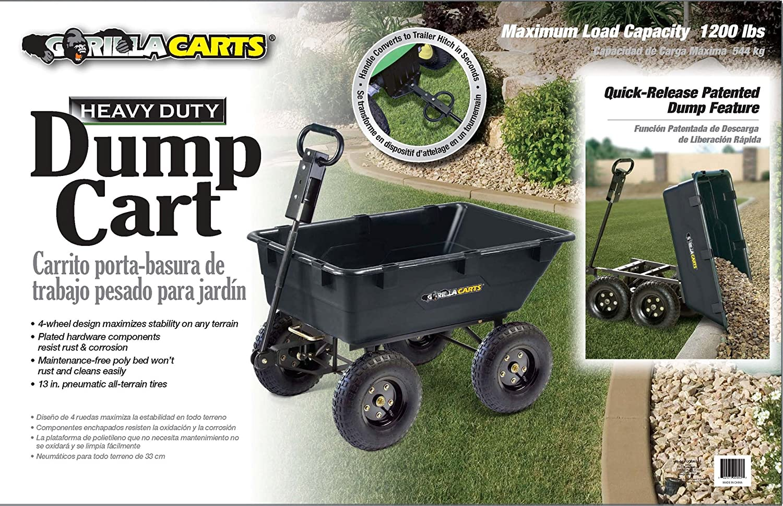 Amazon.com : Gorilla Carts GOR865D11-1 Heavy-Duty Garden Poly Dump Cart with 2-In-1 Convertible Handle, 1, 200-Pound Capacity, Black Finish (Older Model) ...