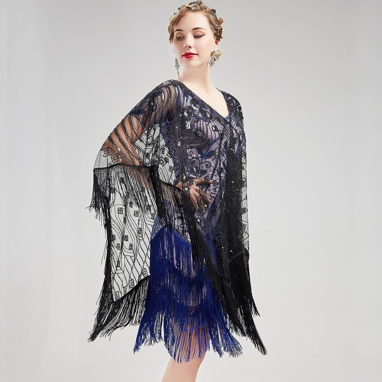 67ab14e5fe3bee ... ArtiDeco 1920s Retro Schal Damen Umschlagtücher Stola für Abendkleid  Hochzeit Party Braut Schal Gatsby Kostüm Accessoires ...