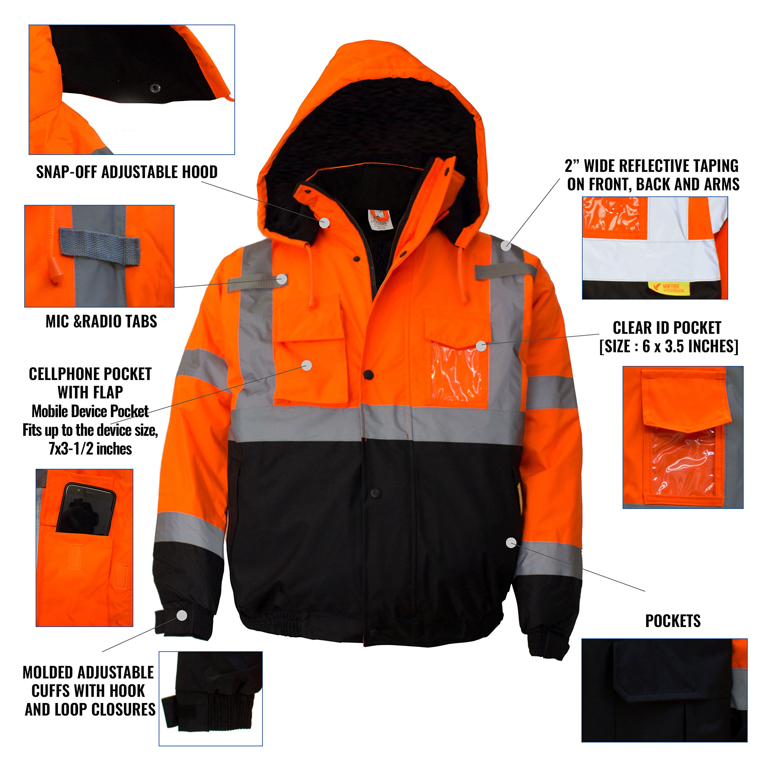 New York Hi-Viz Workwear WJ9011-L Men's ANSI Class 3 High Visibility Bomber Safety Jacket, Waterproof (Large, Orange) by New York Hi-Viz Workwear (Image #9)