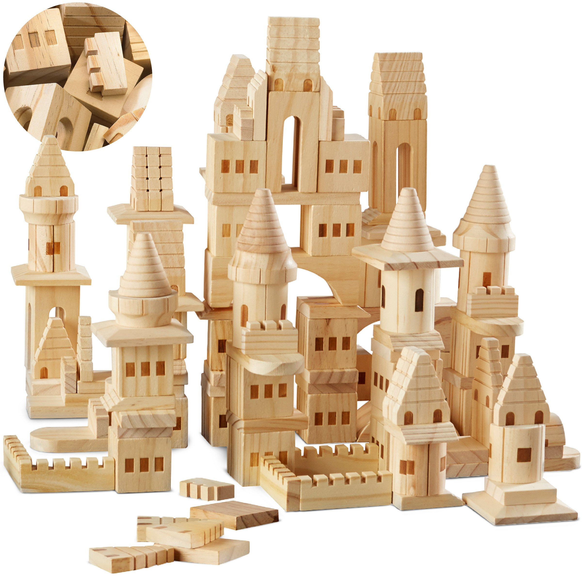 FAO Schwarz {150 Piece Set} Wooden Castle Building Blocks Set Toy Solid Wood Block Playset Kit for Kids, Toddlers, Boys, and Girls, Fantasy Medieval Knights and Princess Theme with Bridges and Arches