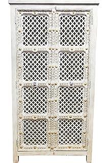 Marrakesch Akasha - Cómoda de estilo oriental (estrecha, 122 cm, tallada a mano, madera), color blanco y gris: Amazon.es: Hogar