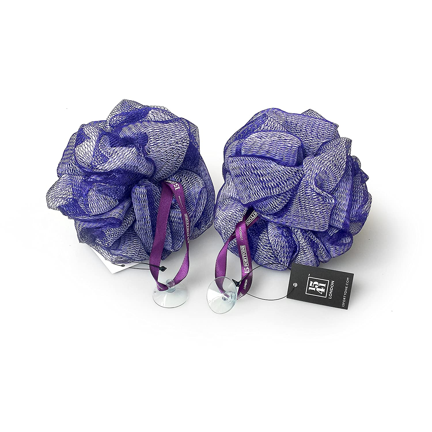 1541 London Exfoliating Bath & Shower Body Puff / Scrunchie / Buffer TWIN PACK (Aubergine)