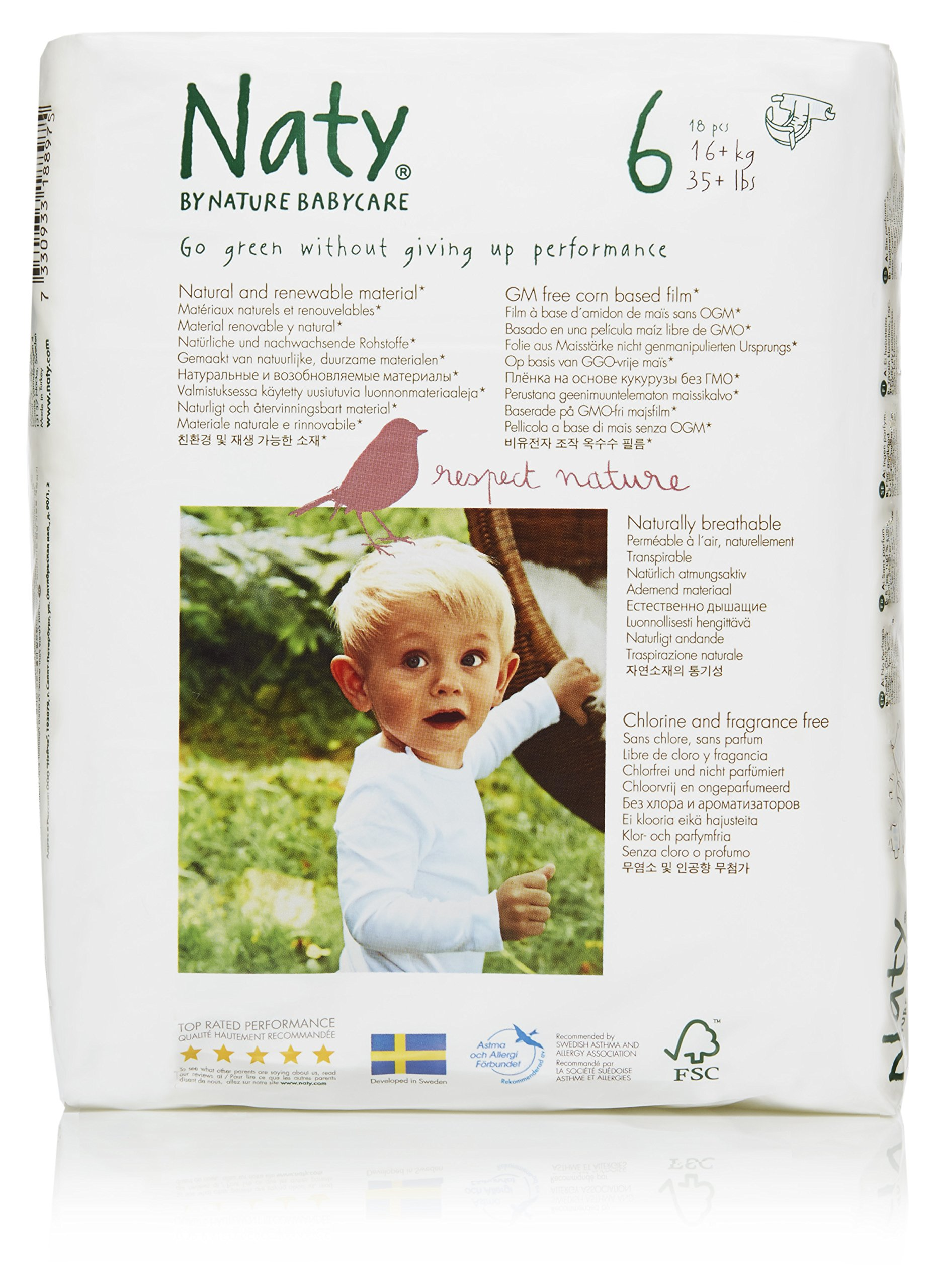 Naty by Nature Babycare Eco-Friendly Disposable Baby Diapers, Size 6, 4 packs of 18 (72 diapers)