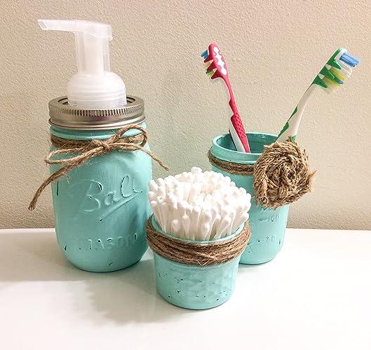 Three Piece Set Rustic Mason Jar Bathroom Storage, Mason Jar Organizer,  Bathroom Accessories,