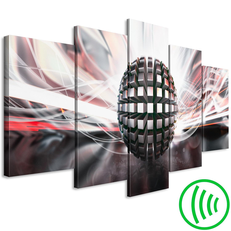 decomonkey Akustikbild Abstrakt 200x100 cm 5 Teilig Bilder Leinwandbilder Wandbilder XXL Schallschlucker Schallschutz Akustikdämmung Wandbild Deko leise Kugel schwarz weiß