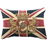 "Evans Lichfield Union Jack Traditional Lion Crest Tapestry (Filled) Cushion, 18"" x 13"""