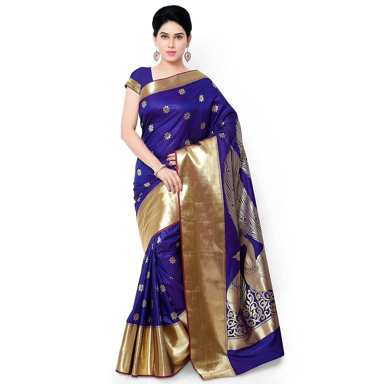 Blue & Violet Kanchipuram Silk Saree