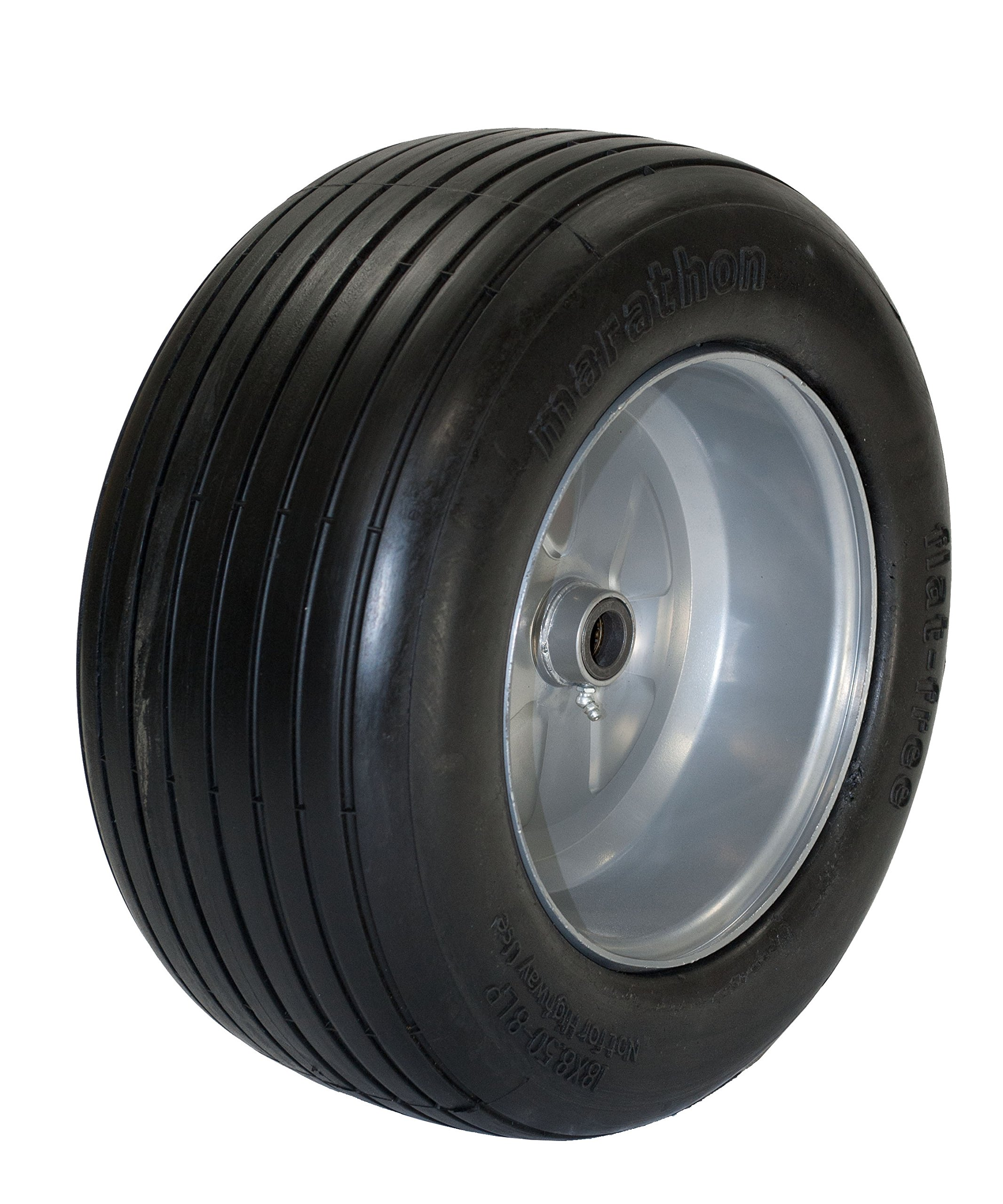 Marathon 18x8.50-8'' Flat Free Tire on Wheel, 3.25'' Hub, 1'' Roller Bearing