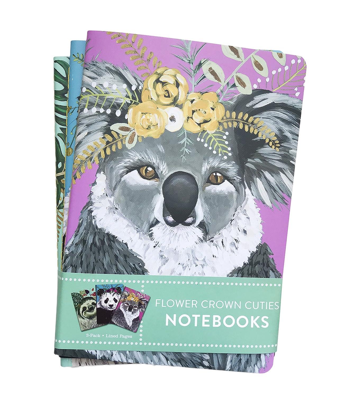 Amazon flower crown cuties sloth panda koala 3 pack lined amazon flower crown cuties sloth panda koala 3 pack lined paged notebooks 825 x 55 office products izmirmasajfo