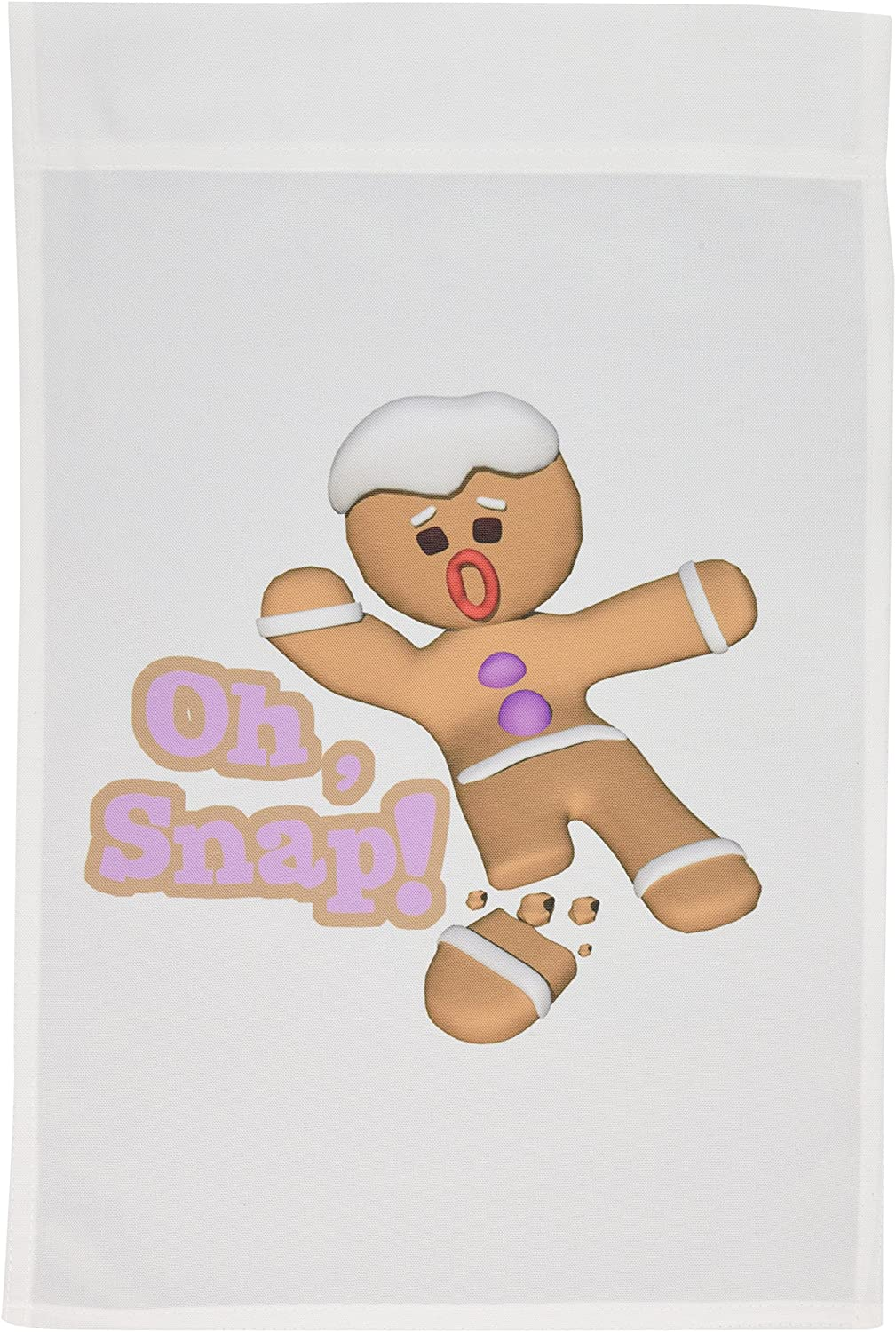 3dRose fl_119149_1 Funny Oh Snap Broken Snapped Gingerbread Man Cookie Holiday Christmas Humor Garden Flag, 12 by 18-Inch