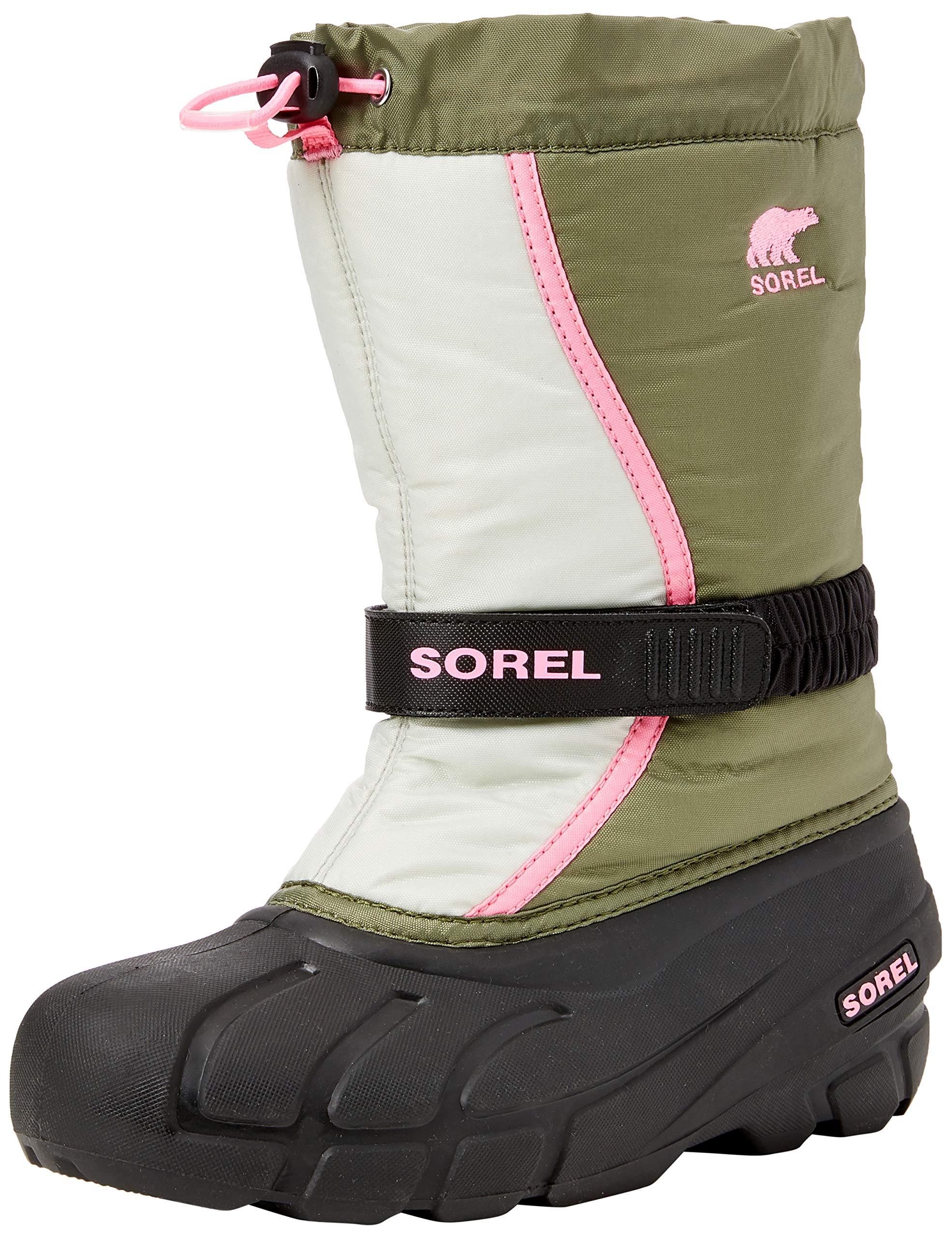 Sorel Girls' Youth Flurry Snow Boot, Hiker Green, Bubblegum, 5 M US Big Kid by Sorel (Image #1)