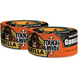 "Gorilla Tape, Black Tough & Wide Duct Tape, 2.88"" x 30 yd, Black, (Pack of 2)"
