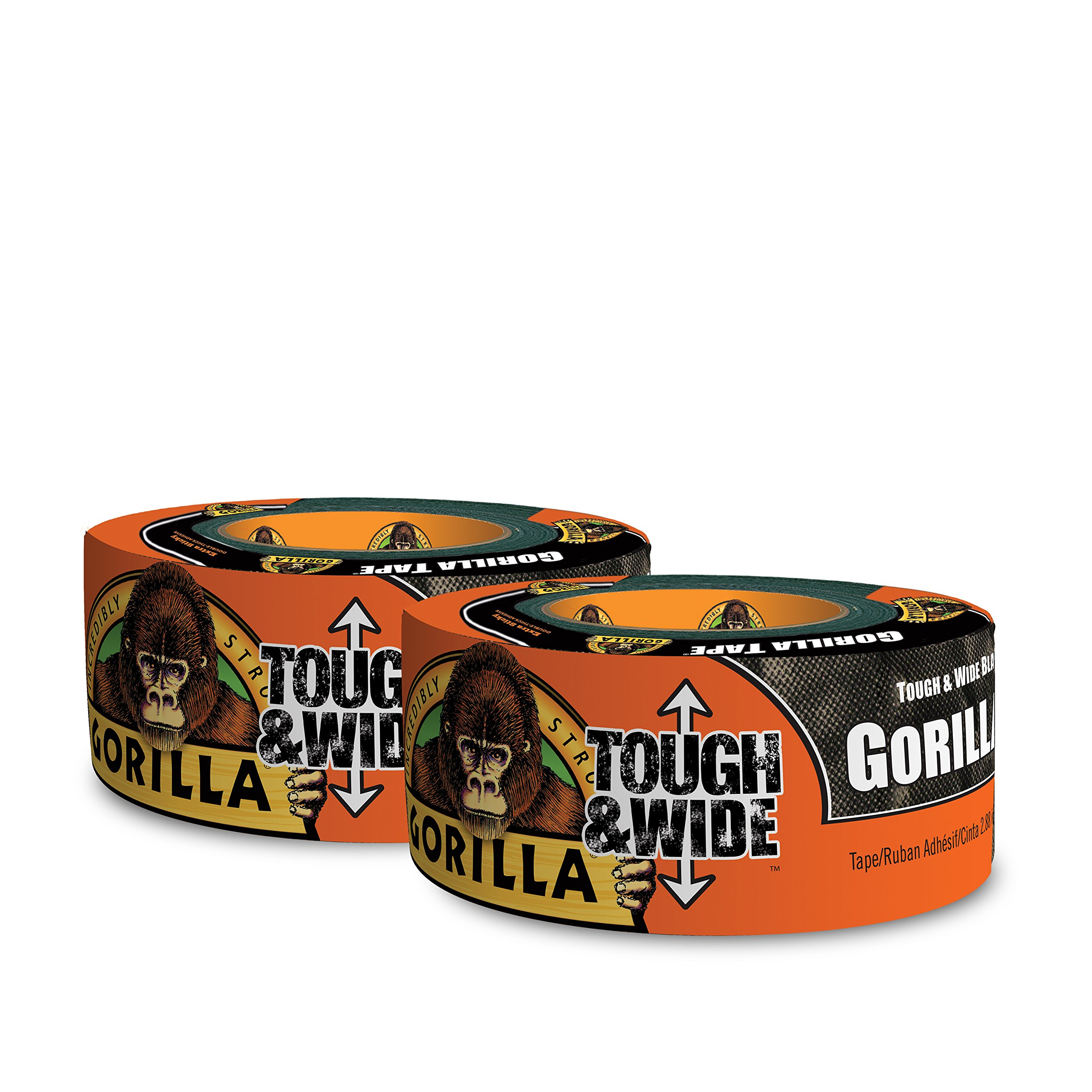 Gorilla Tape, Black Tough & Wide Duct Tape, 2.88'' x 30 yd, Black, (Pack of 2)