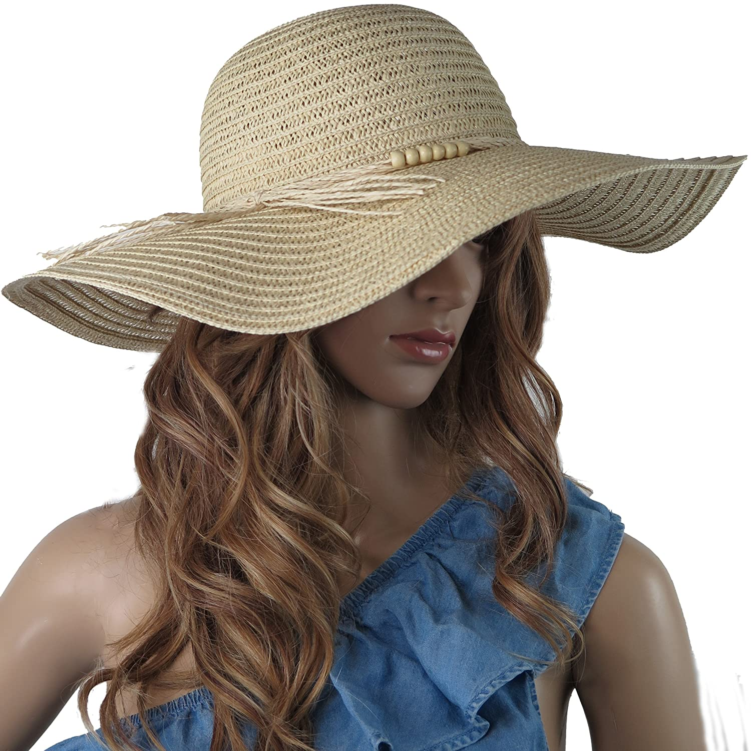 17dcf732c1a Debra Weitzner Beach Straw Floppy Hat for Women Wide Brim - Sun Protection  - Packable Foldable Summer Sun hat for Ladies - Beige at Amazon Women s  Clothing ...
