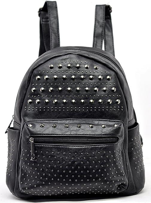 molto carino cc14e 35e1a zaino zainetto borchie donna casual nero pelle passeggio viaggio gita nero  MADE ITALY PELLE moda milano