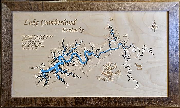 Amazon.com: Lake Cumberland Kentucky: Framed Wood Map Wall ...