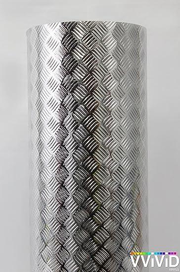 Industrial Utility Diamond Plate Metallic Chrome Finish Vinyl Wrap 17 8 Inches X 25ft Sheet Adhesive Roll For Shelves Walls Flooring Amazon Com